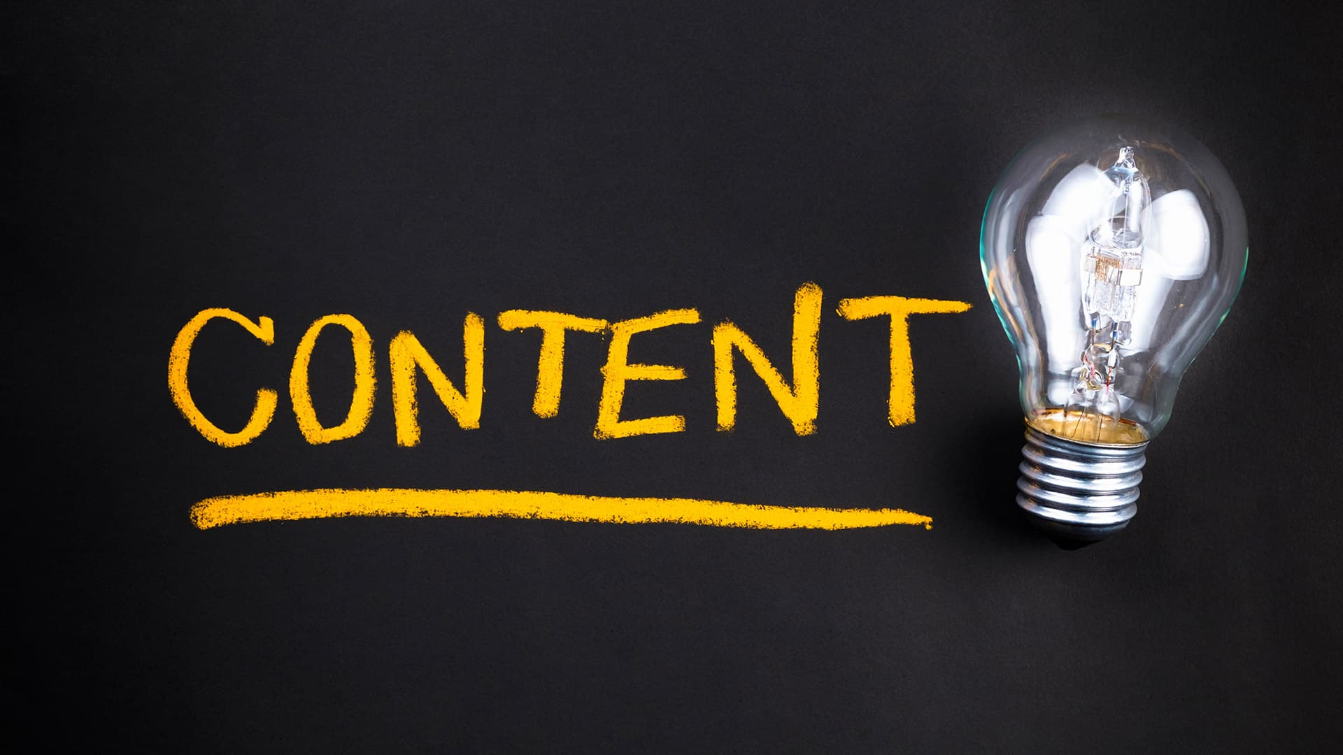 content text with light bulb
