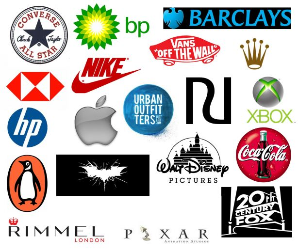 logo of converse, barclays, hp, nike, vans off the wall, rolex, walt disney, xbox, cocacola, pixar, 20th century fox, rimmel